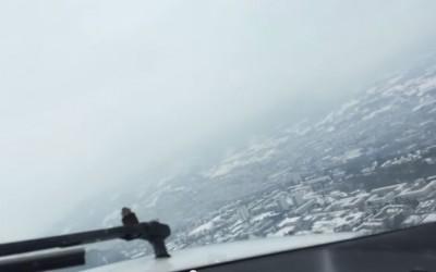 Atterrissage et survol de Chambéry en avion, le 7 février 2015